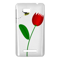 Red tulip and bee HTC One SU T528W Hardshell Case