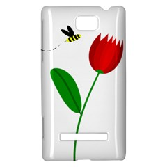 Red tulip and bee HTC 8S Hardshell Case