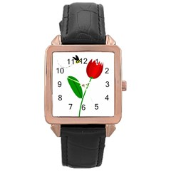 Red tulip and bee Rose Gold Leather Watch