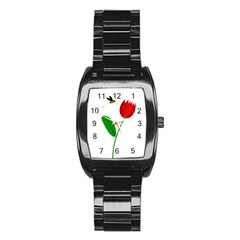 Red tulip and bee Stainless Steel Barrel Watch