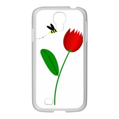 Red tulip and bee Samsung GALAXY S4 I9500/ I9505 Case (White)