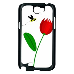 Red tulip and bee Samsung Galaxy Note 2 Case (Black)