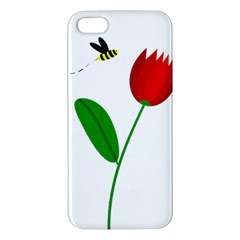 Red tulip and bee iPhone 5S/ SE Premium Hardshell Case