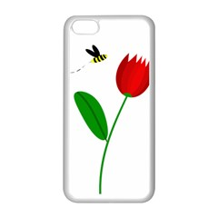 Red tulip and bee Apple iPhone 5C Seamless Case (White)