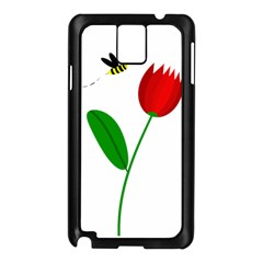 Red tulip and bee Samsung Galaxy Note 3 N9005 Case (Black)
