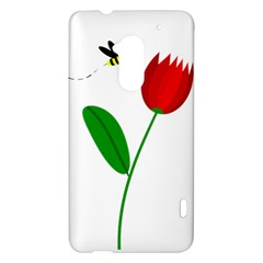 Red tulip and bee HTC One Max (T6) Hardshell Case