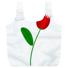 Red tulip and bee Full Print Recycle Bags (L)