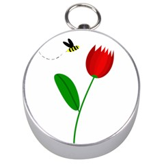 Red tulip and bee Silver Compasses