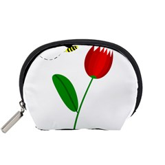 Red tulip and bee Accessory Pouches (Small)