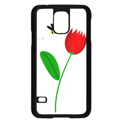 Red tulip and bee Samsung Galaxy S5 Case (Black)