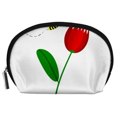 Red tulip and bee Accessory Pouches (Large)