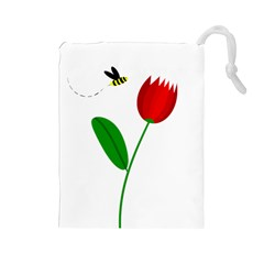 Red tulip and bee Drawstring Pouches (Large)