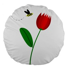 Red tulip and bee Large 18  Premium Flano Round Cushions