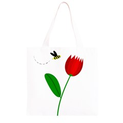 Red tulip and bee Grocery Light Tote Bag