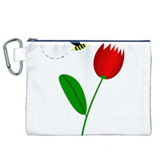 Red tulip and bee Canvas Cosmetic Bag (XL)