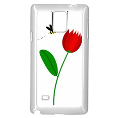 Red tulip and bee Samsung Galaxy Note 4 Case (White)