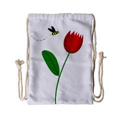 Red tulip and bee Drawstring Bag (Small)