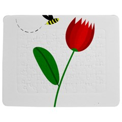 Red tulip and bee Jigsaw Puzzle Photo Stand (Rectangular)
