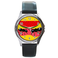 Ants and watermelon  Round Metal Watch