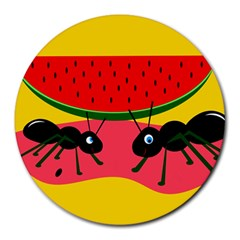 Ants and watermelon  Round Mousepads