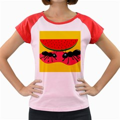 Ants and watermelon  Women s Cap Sleeve T-Shirt