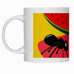 Ants And Watermelon  White Mugs