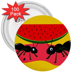 Ants and watermelon  3  Buttons (100 pack)