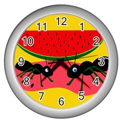 Ants and watermelon  Wall Clocks (Silver)
