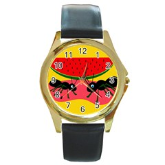 Ants and watermelon  Round Gold Metal Watch