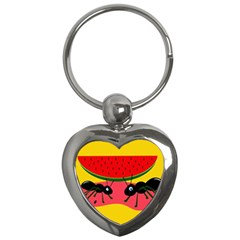 Ants and watermelon  Key Chains (Heart)