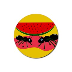 Ants and watermelon  Rubber Round Coaster (4 pack)
