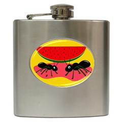 Ants and watermelon  Hip Flask (6 oz)