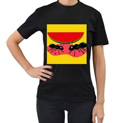 Ants and watermelon  Women s T-Shirt (Black) (Two Sided)