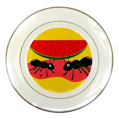 Ants and watermelon  Porcelain Plates