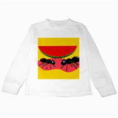 Ants and watermelon  Kids Long Sleeve T-Shirts