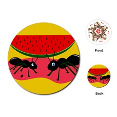 Ants And Watermelon  Playing Cards (round)