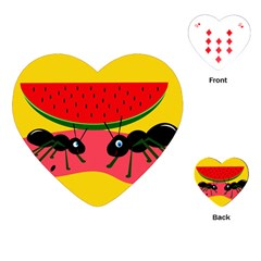 Ants and watermelon  Playing Cards (Heart)