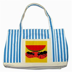 Ants and watermelon  Striped Blue Tote Bag