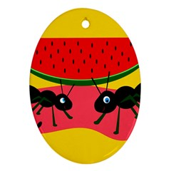 Ants and watermelon  Oval Ornament (Two Sides)