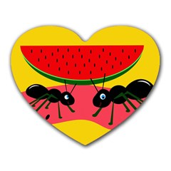 Ants and watermelon  Heart Mousepads