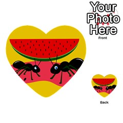 Ants and watermelon  Multi-purpose Cards (Heart)