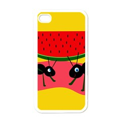 Ants and watermelon  Apple iPhone 4 Case (White)