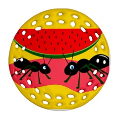 Ants And Watermelon  Round Filigree Ornament (2side)
