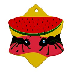 Ants And Watermelon  Snowflake Ornament (2 Side)