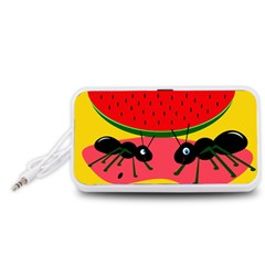 Ants and watermelon  Portable Speaker (White)