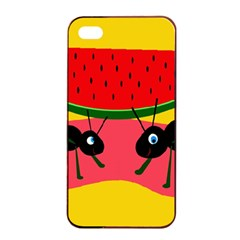 Ants and watermelon  Apple iPhone 4/4s Seamless Case (Black)