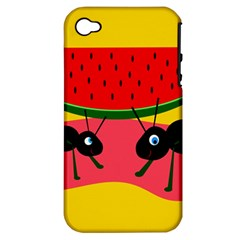 Ants and watermelon  Apple iPhone 4/4S Hardshell Case (PC+Silicone)