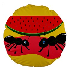 Ants and watermelon  Large 18  Premium Round Cushions
