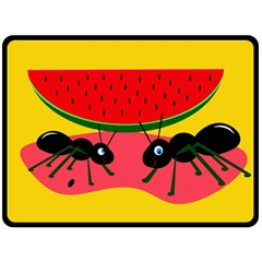 Ants and watermelon  Double Sided Fleece Blanket (Large)