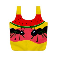 Ants and watermelon  Full Print Recycle Bags (M)